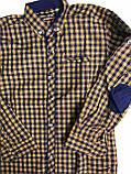 Рубашка горчица, синяя клетка с налокотниками  для мальчиков на рост 164см, фото 2