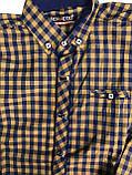 Рубашка горчица, синяя клетка с налокотниками  для мальчиков на рост 164см, фото 3