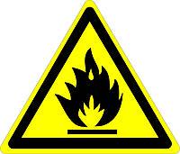 Легковоспламеняющиеся вещества, Осторожно.
