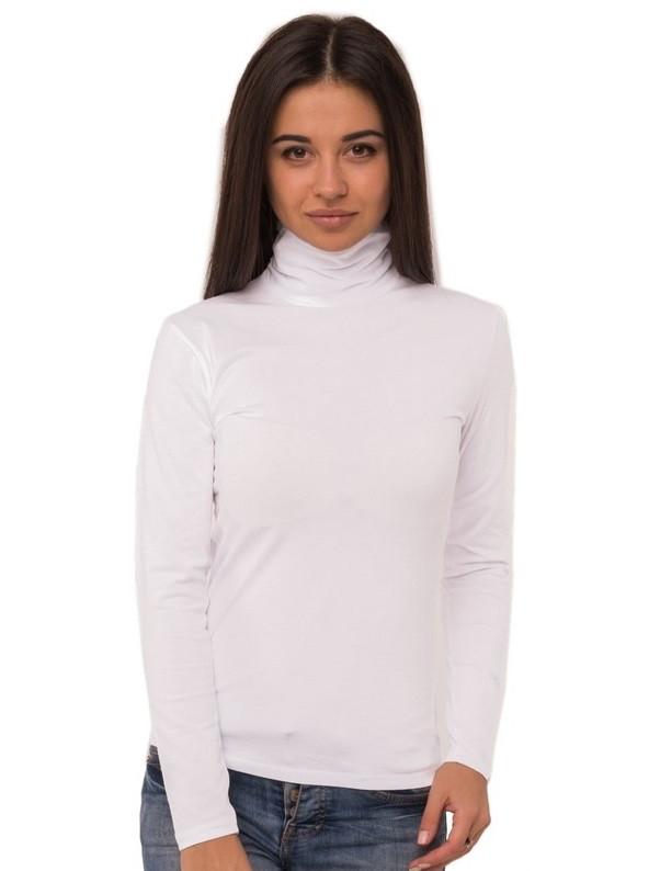 Біла водолазка жіноча з високим горлом довгий рукав без малюнка бавовна стрейч трикотажна Україна