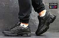 Кроссовки мужские Adidas Raf Simons, материал - кожа+сетка, черные