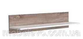 Полка навесная Доменика POL 90 205х900х215мм дуб сонома темный + белый глянец Гербор