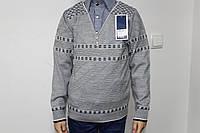 Джемпер-обманка серый с имитацией  синей рубашки в клетку на кнопках для мальчика от 7 до 10 лет