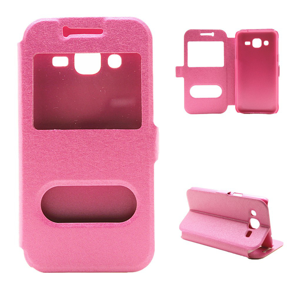 Чехол Samsung J200 / J2 книжка с двойным окном розовый