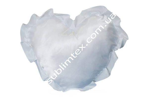 Подушка атласная,натуральный наполнитель,метод печати сублимация,форма сердца,цвет Рюши белый, фото 2
