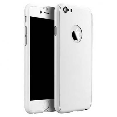 Чехол накладка на iPhone 5/5s/se белый пластик двухсторонний со стеклом, защита 360 градусов