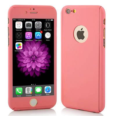 Чехол накладка на iPhone 5/5s/se розовый пластик двухсторонний со стеклом, защита 360 градусов