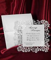 Свадебные пригласительные в ажурной рамочке, красивые приглашения на свадьбу с печатью текста