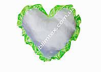 Подушка атласная,натуральный наполнитель,метод печати сублимация,форма сердца,цвет Рюши салатовый (декор)
