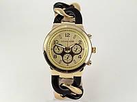 Часы женские Michael Kors плетеный браслет с черными звеньями, фото 1