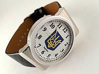 Часы мужские с Гербом Украины серебристый корпус, белый циферблат, фото 1