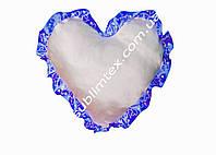Подушка атласная,натуральный наполнитель,метод печати сублимация,форма сердца,цвет Рюши электрик (декор)