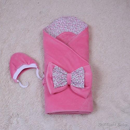 Осенний конверт для новорожденных Винтаж розовый