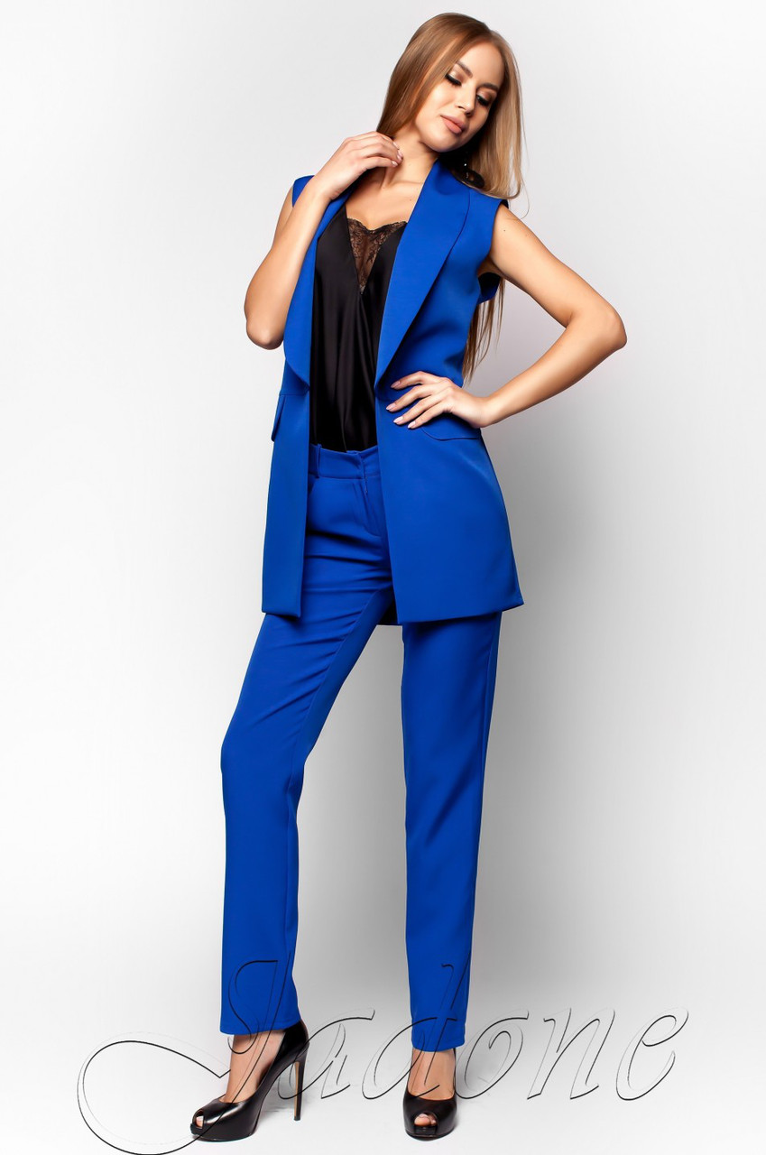 79dad75192ed Офисный брючный костюм Андреа электрик Jadone Fashion 42-48 размеры -  Интернет-магазин одежды