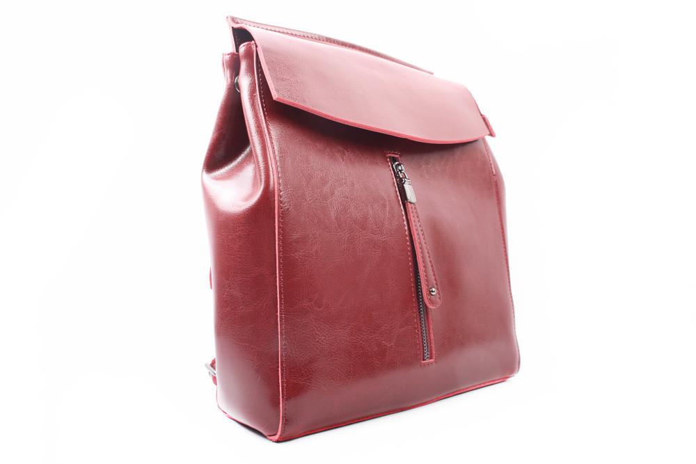 Рюкзак эко-кожа, цвет красный, размер средний, прямоугольная форма