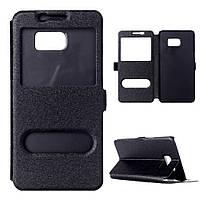 Чехол Samsung S6 edge plus / G928 книжка с двойным окном черный