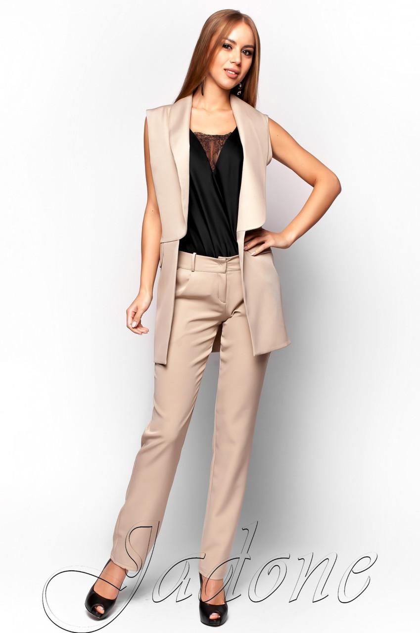 04f884362500 Офисный бежевый брючный костюм Андреа Jadone Fashion 42-48 размеры -  Интернет-магазин одежды