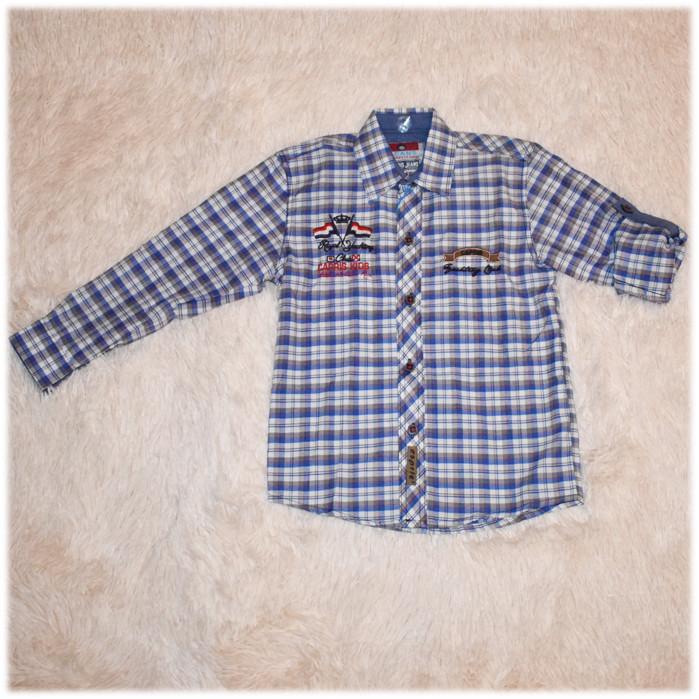 Рубашка детская на мальчика в клетку размер 110 116 122