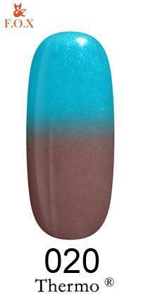 Гель-лак F. O. X Thermo №020 коричневий з блискітками-блакитний з блискітками 6мл.