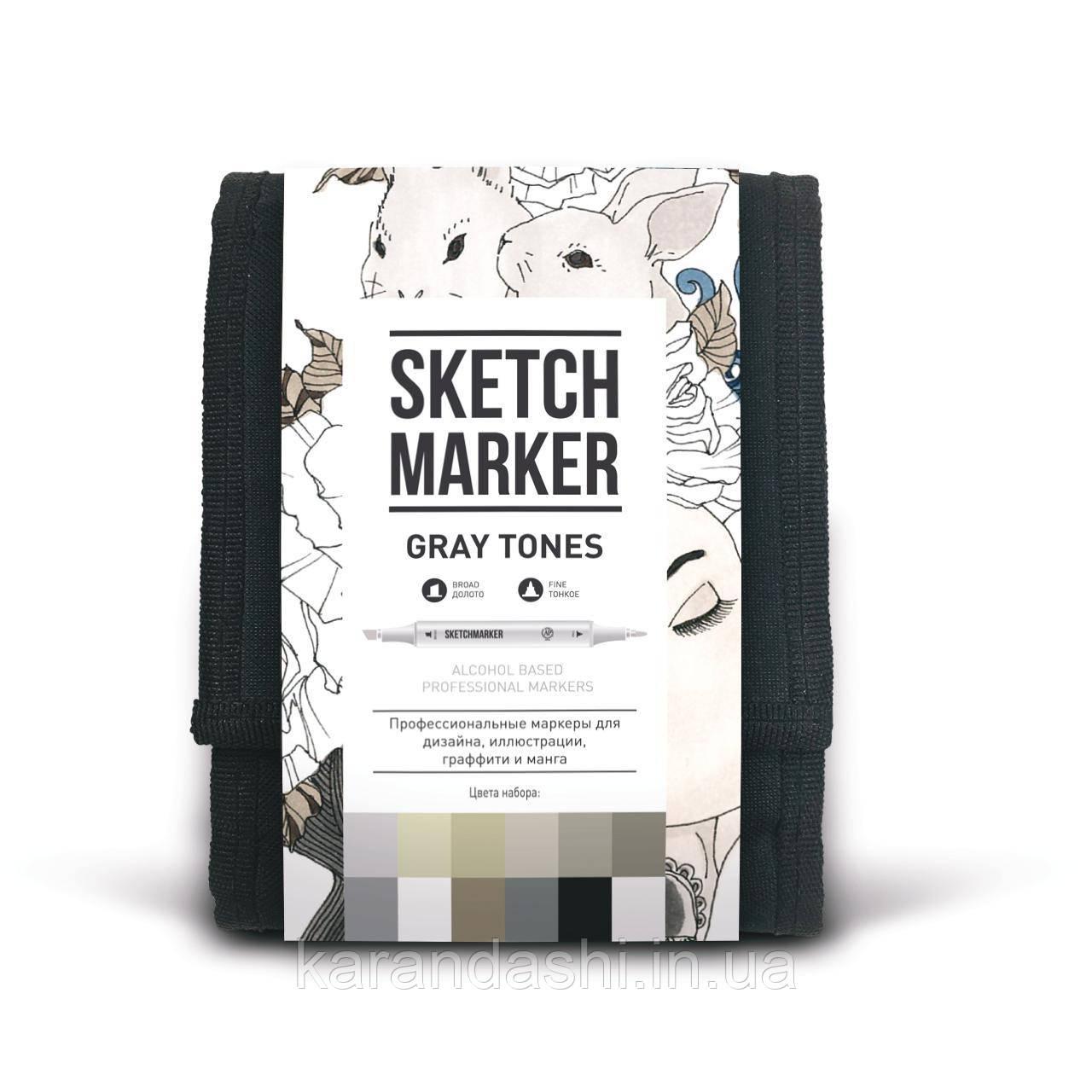 Набор SCETCHMARKER 12 цветов тонкий-скошенный Gray Set 12gray