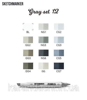 Набор SCETCHMARKER 12 цветов тонкий-скошенный Gray Set 12gray, фото 2