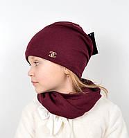 Комплект ангора х/б (шапка+хомут) бордо, фото 1