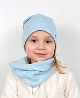 Комплект ангора х/б (шапка+хомут) голубой, фото 1