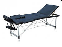 Массажный стол, алюминиевый, трехсекционный, черный.