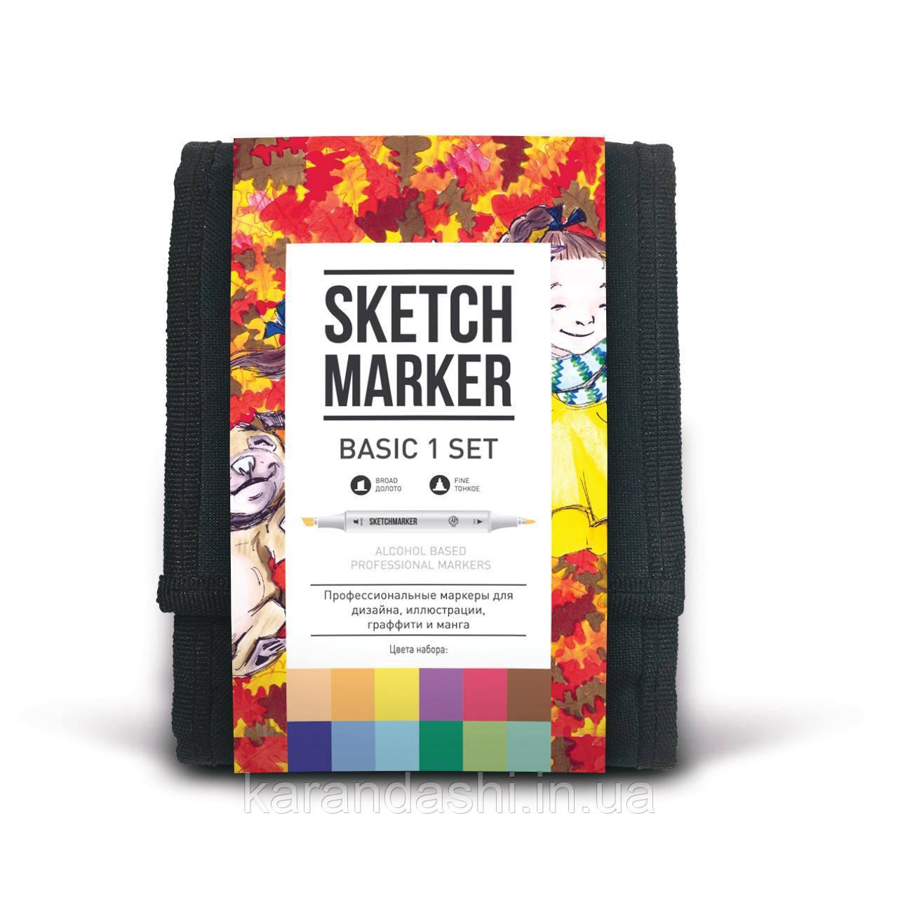 Набор SCETCHMARKER 12цветов тонкий-скошенный Basic Set1 12bas1