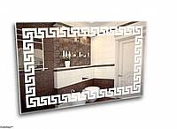 Зеркало с подсветкой в стиле греческого орнамента.