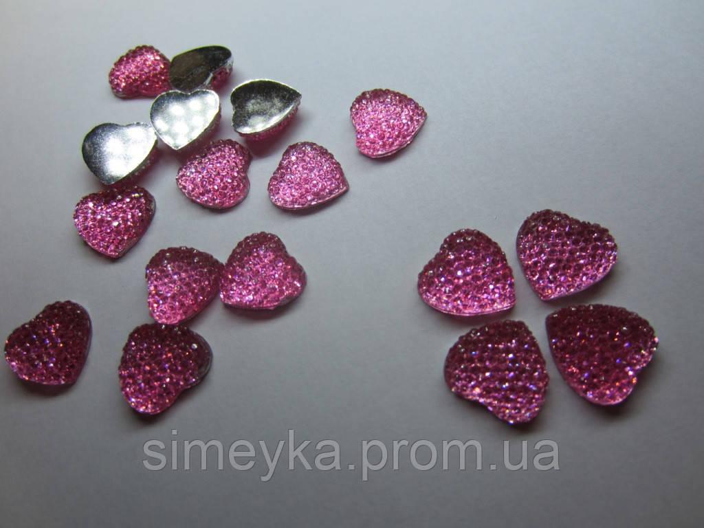 Камень декоративный в форме сердца со стразами, диаметр 16 мм. Розовый