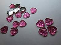 Камень декоративный в форме сердца со стразами, диаметр 16 мм. Розовый, фото 1