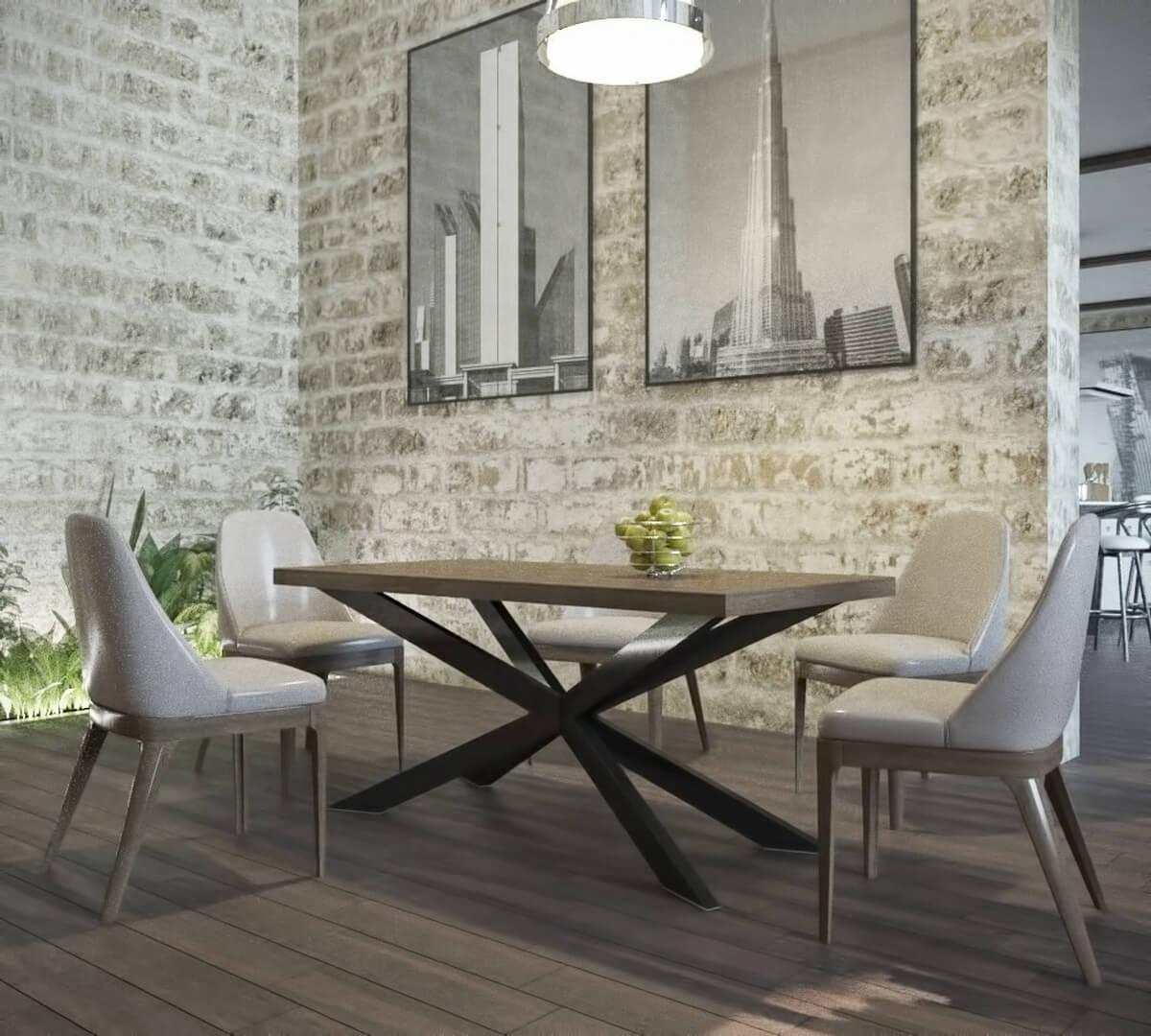 Стіл обідній в стилі Лофт Ікс Метал-Дизайн