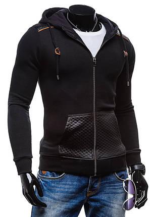 Мужская черная кофта с капюшоном, фото 2
