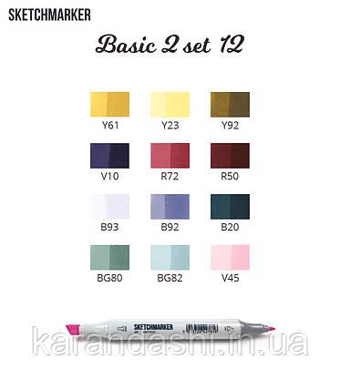Набор SCETCHMARKER 12цветов тонкий-скошенный Basic Set2 12bas2 (поступление 08.2018г), фото 2