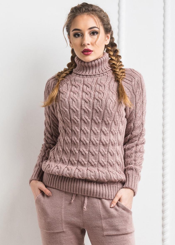 408d5ef258a Тёплый женский вязанный шерстяной свитер. Лате
