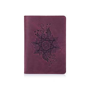 """Фиолетовая дизайнерская кожаная обложка для паспорта, коллекция """"Mehendi Classic"""""""
