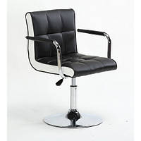 Кресло с белыми / черными вставками Чорний, 40-60см.(низьке/ манікюрне/ офісне/ тощо) на диску