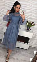 Платье из шифона с бусинками. Код 549