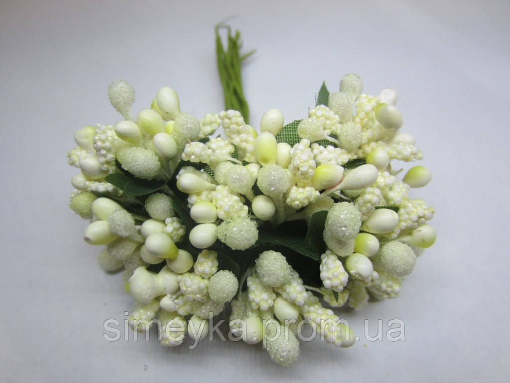 """Тычинки для цветочного венка - """"шишечки"""" молочные, букетик из 11-12 соцветий, длина 10 см"""