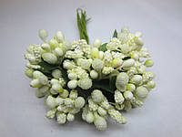 """Тычинки для цветочного венка - """"шишечки"""" молочные, букетик из 11-12 соцветий, длина 10 см, фото 1"""