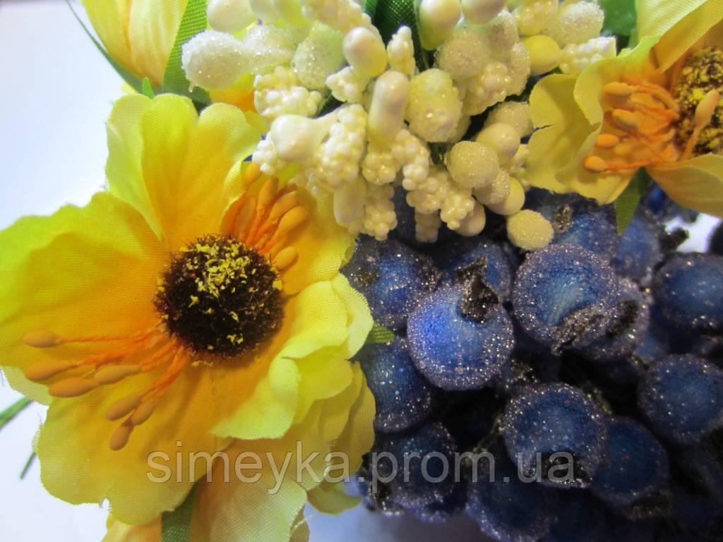 Мак жёлтый для украинского венка, диаметр цветка 40 мм, 1 шт.