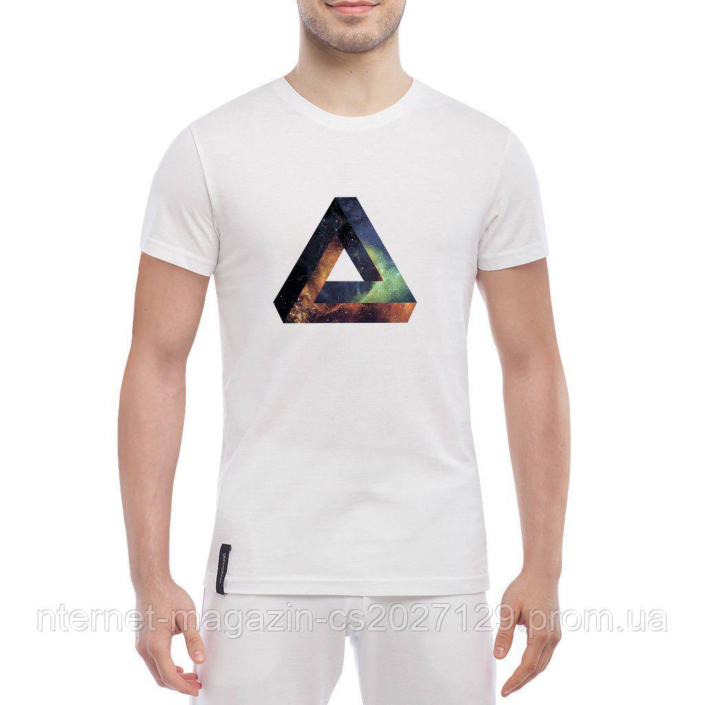 Футболка с печатью принта Объемный треугольник в стиле SWAG