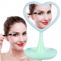 Зеркало для макияжа с подсветкой и тайником Сердце Green, фото 1