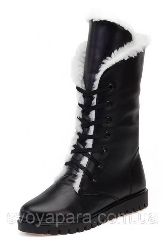 Ботинки зимние чёрные кожаные ортопедические для девочки на термополиэстеровой подошве на натуральной шерсти