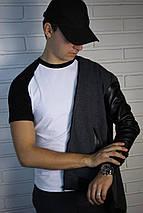 Мужская серая толстовка с кожаными рукавами, фото 3