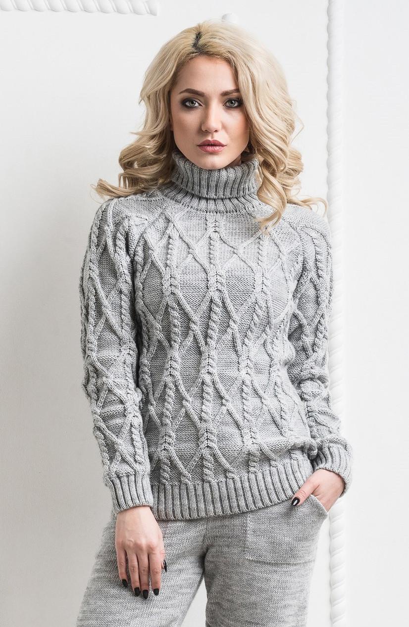3337b7507f1 Женский тёплый вязанный шерстяной свитер. Серый