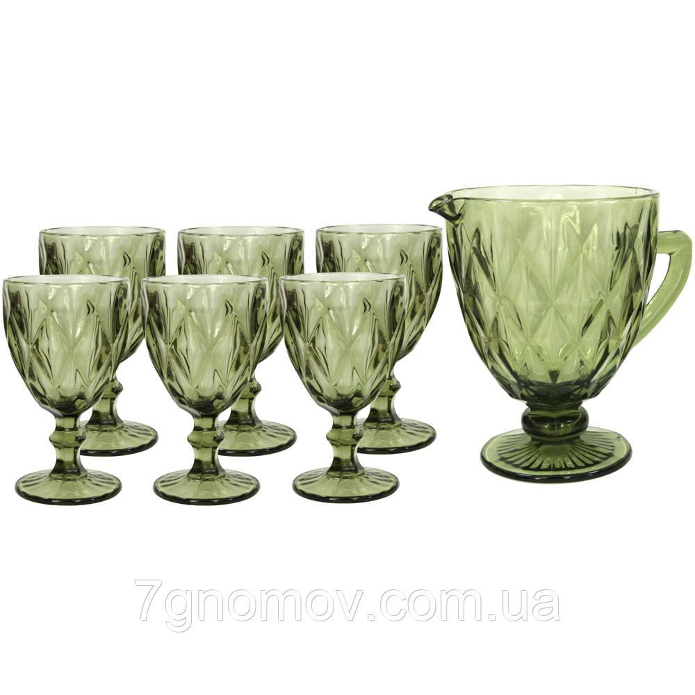 Набор 6 бокалов и графин Изольда из толстого зеленого стекла