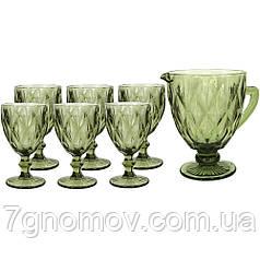 Набір 6 келихів з графіном з товстого зеленого скла Ізольда