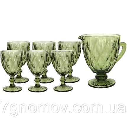Набор 6 бокалов и графин Изольда из толстого зеленого стекла, фото 2